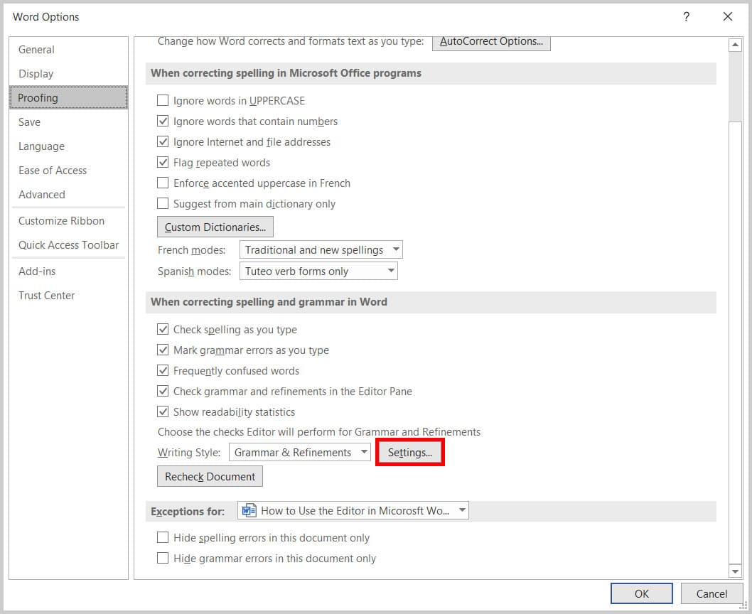 Settings button in the Word Options dialog box in Word 365