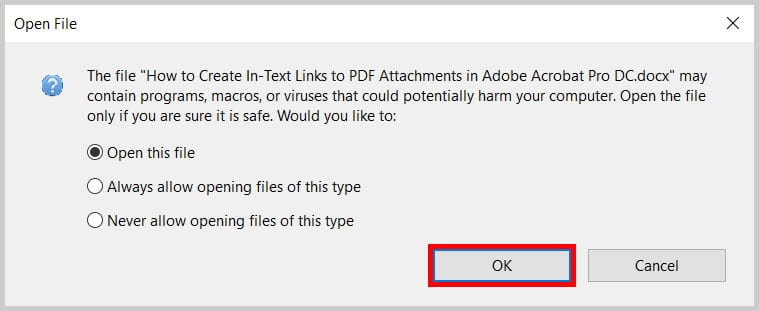 Adobe Acrobat Open File dialog box OK button