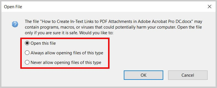 Adobe Acrobat Open File dialog box options