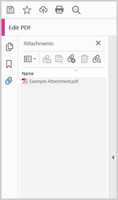 Adobe Acrobat Attachments panel