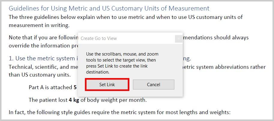 Adobe Acrobat Create Go to View dialog box Set Link button