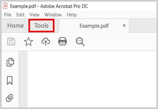 Adobe Acrobat Tools tab