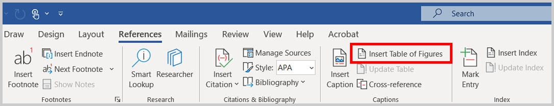 Insert Table of Figures button in Word 365