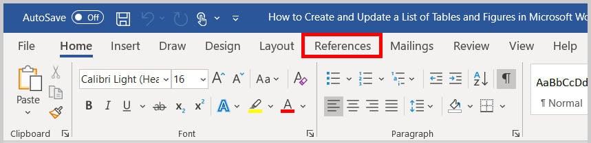 References tab in Word 365