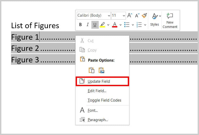 Update Field option in Word 365