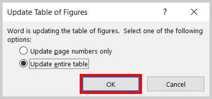 OK button in the Update Table of Figures dialog box on Word 365