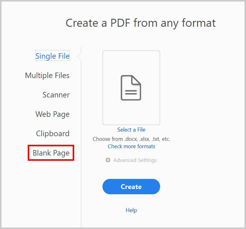 "Blank Page option in the ""Create a PDF from any format"" menu in Adobe Acrobat"