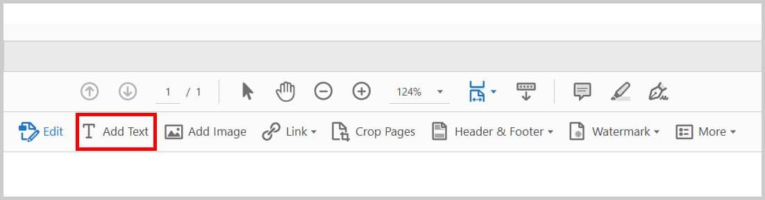 Add Text in the Edit PDF toolbar in Adobe Acrobat