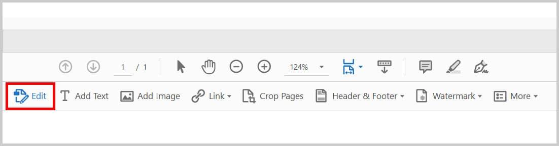 Edit button in the Edit PDF toolbar in Adobe Acrobat