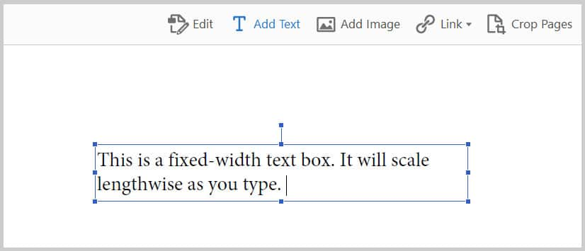 Fixed-width text box example in Adobe Acrobat