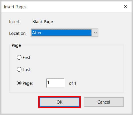 Insert Pages dialog box OK button in Adobe Acrobat