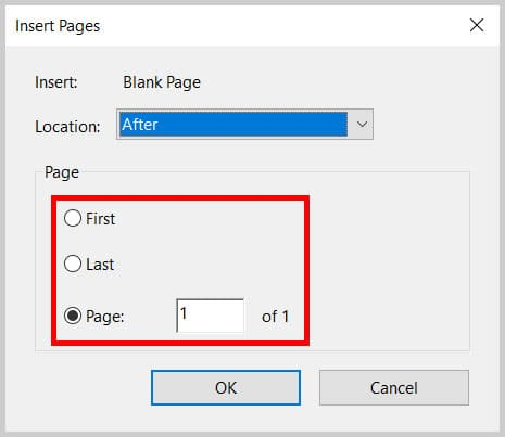 Insert Pages dialog box Page section in Adobe Acrobat