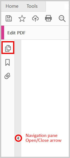 Page Thumbnails button in Adobe Acrobat