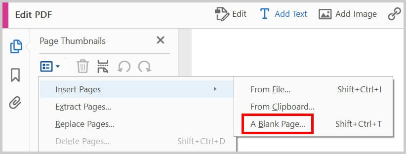 A Blank Page option in Adobe Acrobat