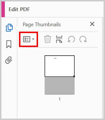 Page Thumbnails pane Options button in Adobe Acrobat
