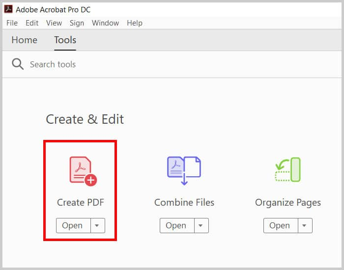 Create PDF button in the Tools Center of Adobe Acrobat