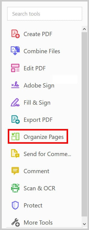 Organize Pages button in the Tools pane in Adobe Acrobat