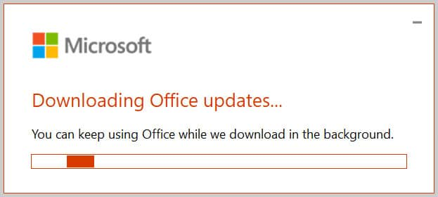 """""""Downloading Office updates"""" dialog box in Word 365"""