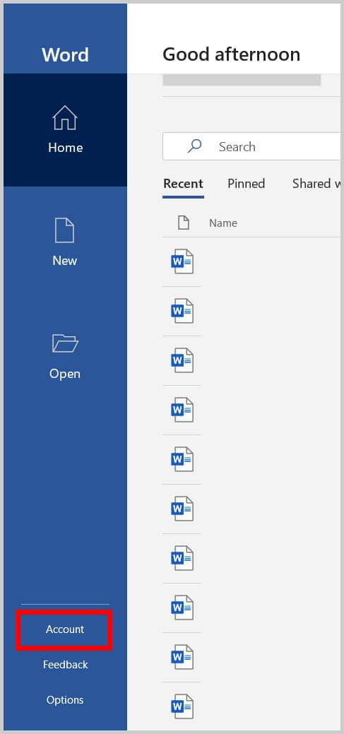 Account tab in Home view in Word 365