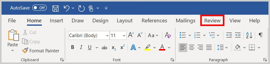 Review tab in Word 365