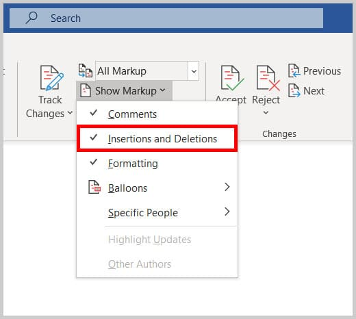 Insertions and Deletions option in Word 365