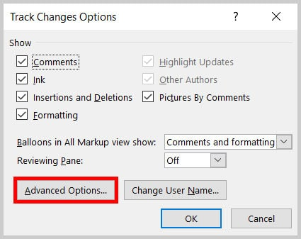 Track Changes Options dialog box Advanced Options button in Word 365