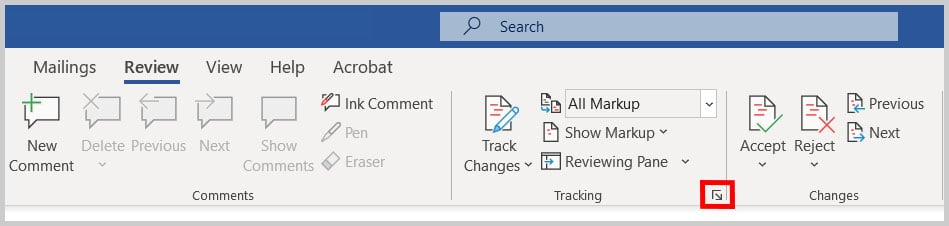 Tracking group dialog box launcher in Word 365
