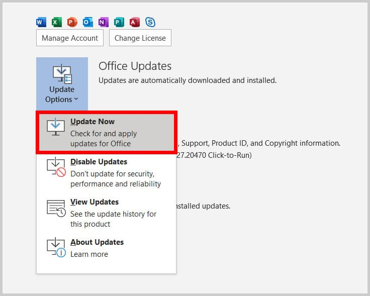 Update Now option in Word 365
