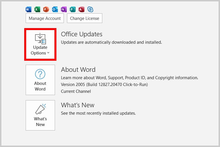 Update Options button in Word 365