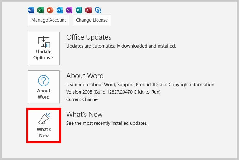 What's New button in Word 365
