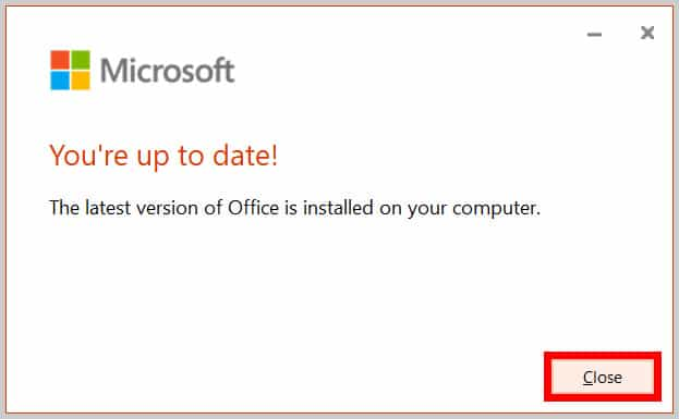 """""""You're up to date"""" dialog box"""