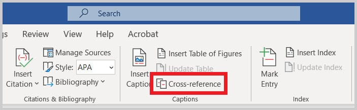 Cross-reference button in Word 365