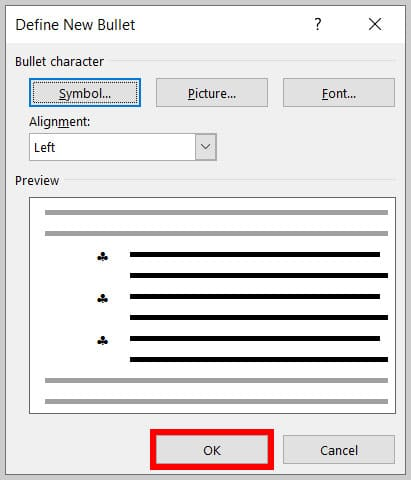 Define New Bullet dialog box OK button in Word 365