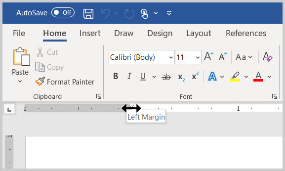 Horizontal ruler in Word 365