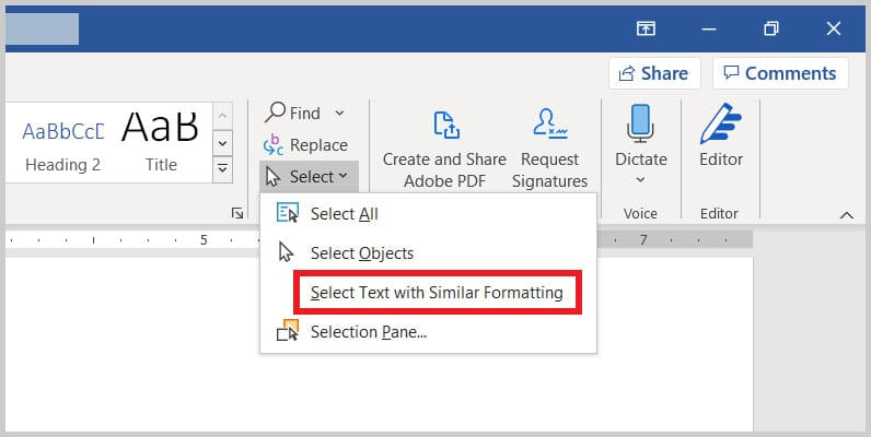 Select Text with Similar Formatting option in Word 365