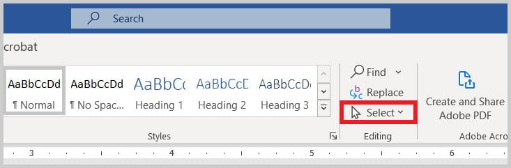 Select option in Word 365