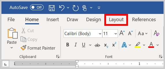 Layout tab in Word 365