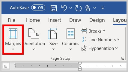 Margins button in Word 365
