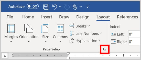Page Setup dialog box launcher in Word 365