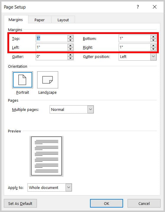 Margin text boxes in the Page Setup dialog box in Word 365