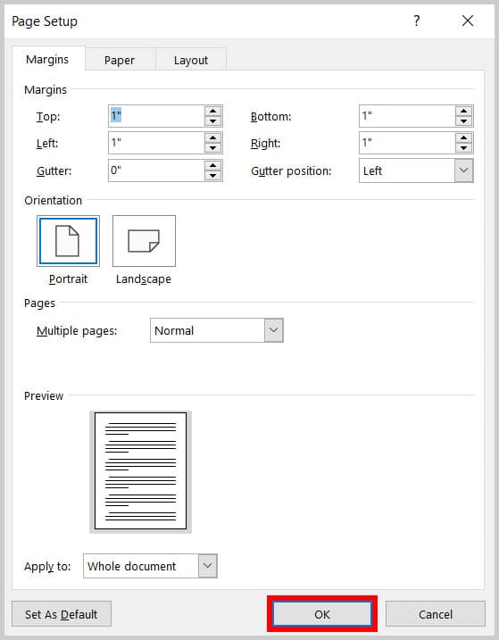 OK button in the Page Setup dialog box in Word 365