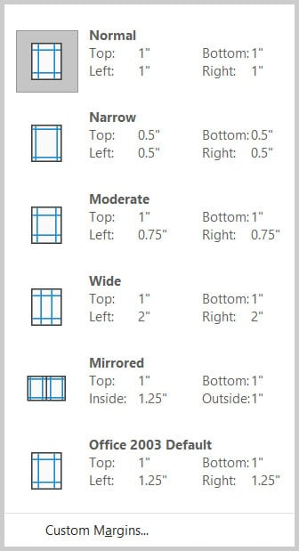 Preset margin menu in Word 365