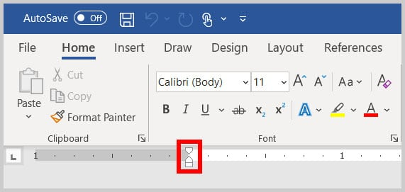 Ruler marker in Word 365