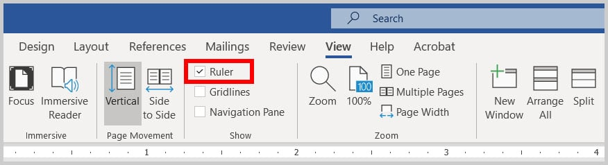 Ruler option in Word 365