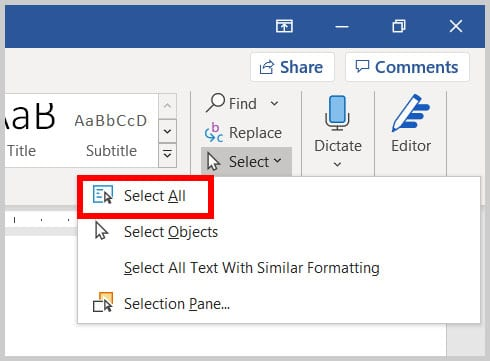 Select All in Word 365