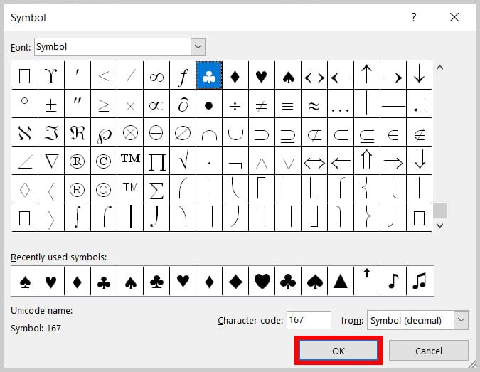 OK button in the Symbol dialog box