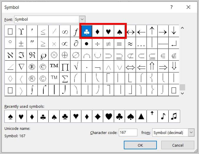 Symbol menu in the Symbol dialog box in Word 365