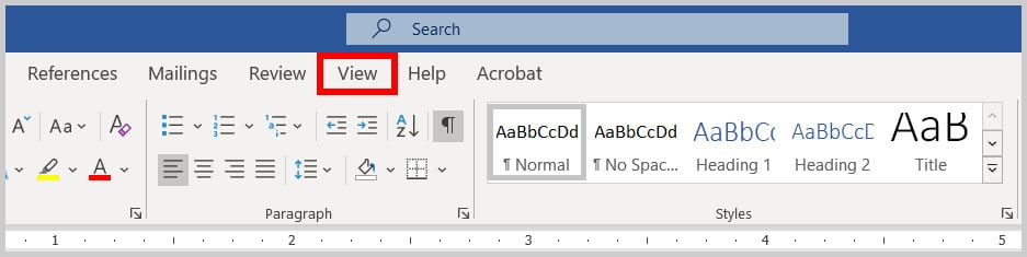 View tab in Word 365
