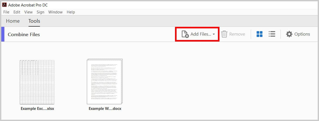 Add Files button in the Combine Files toolbar in Adobe Acrobat