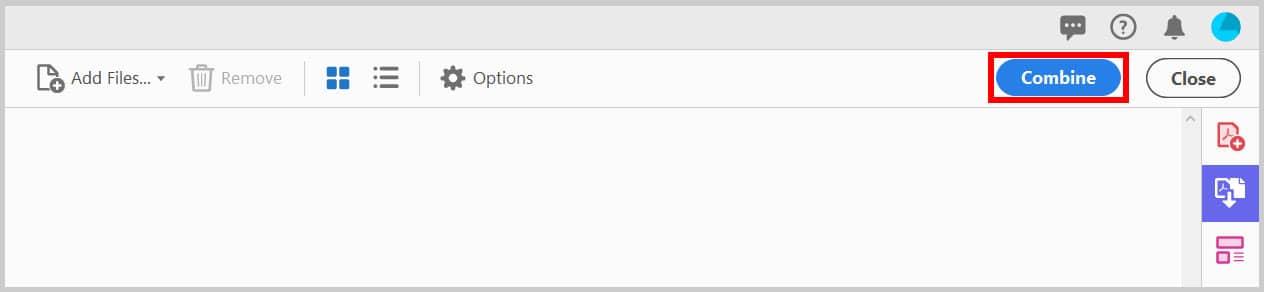 Combine button in Adobe Acrobat